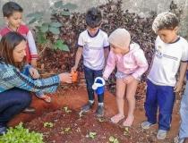 Alunos da rede municipal participam de projeto Horta na Escola