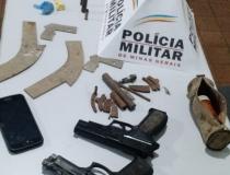 PM prende autores e apreende armas artesanais, simulacros, munições e drogas em Ibiá